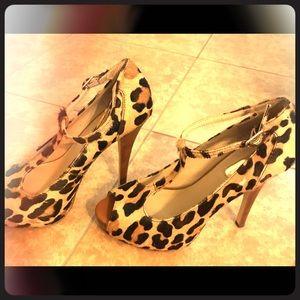 INC Animal Print T-Strap Sandals
